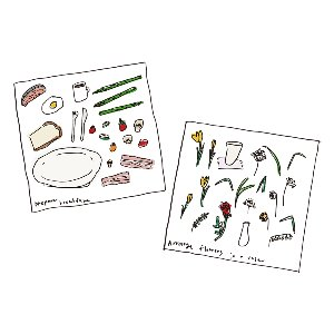 sticker set / plate & flower (6ea)